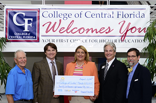 From left: District Board of Trustees Member Ron Ewers, CF Foundation Board Chair Fred Roberts Jr., Chancellor Pumariega, CF President Dr. Jim Henningsen and CF Foundation Executive Director Chris Knife.